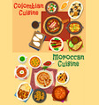 colombian and moroccan cuisine icon set design vector image vector image