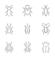 Crawling beetles icons set outline style vector image vector image
