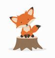 cute fox cartoon on timber vector image vector image