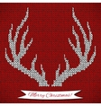 Decorative background with knitted deer horns vector image