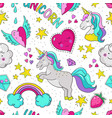 doodle unicorn pattern seamless summer print vector image
