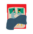 family couple sleeping together holding hands vector image vector image