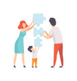family members connecting puzzle elements father vector image vector image