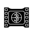film frame with countdown glyph icon vector image
