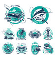 fish symbols for fishing trip icons vector image vector image