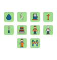 flat color construction icon set vector image