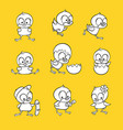 flat cute chicks monochrome set vector image vector image