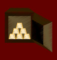 flat shading style icon gold bars in a safe vector image vector image