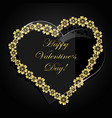 gold floral heart and glass heart on dark vector image