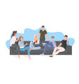 group happy friends spending time together men vector image