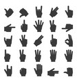 hands icon set vector image vector image