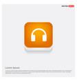 headphone icon orange abstract web button vector image