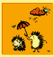 hedgehog holding an umbrella over another hedgehog vector image vector image