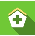 Hospital Flat Long Shadow Square Icon vector image vector image