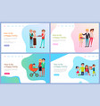 how to be happy family set with parents and kids vector image