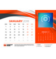 january 2018 desk calendar design template with vector image