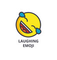 laughing cute emoji line icon sign vector image