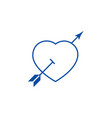 love heart with arrow line icon concept love vector image vector image