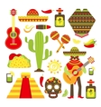 Mexico decorative icons set vector image vector image
