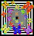 multicolored butterfly fly away into distance vector image vector image