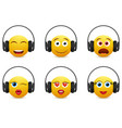 music emoji in headphones icon set vector image