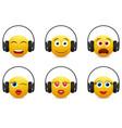 Music emoji in headphones icon set