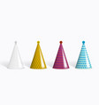 realistic funny colorful party hats set on white vector image