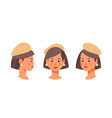 set businesswoman head avatar front side view vector image