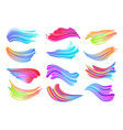 set colorful brush strokes modern design vector image
