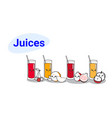 set different juice glasses with ripe fruits vector image vector image