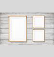 set frames on wooden background vector image vector image