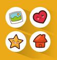 set kawaii social media icons vector image