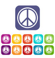 sign hippie peace icons set vector image