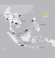 southeast asia map with country and capital vector image vector image
