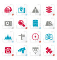 stylized map navigation and location icons vector image