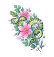 twisted snake among pink flowers vector image vector image