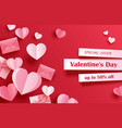 valentines day sale banner template with paper vector image