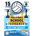 volleyball school sport team league tournament vector image vector image