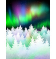 winter landscape background with northern lights vector image vector image