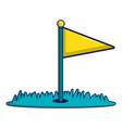 yellow golf flag icon cartoon style vector image vector image