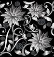 3d vintage silver flowers seamless pattern vector image