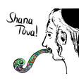 a religious jew hasid blows shofar rosh hashanah vector image vector image