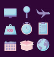 airplane with set icons vector image