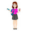 back to school beautiful lady student vector image vector image