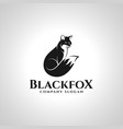 black fox - silhouette fox animal logo vector image vector image