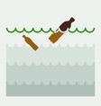 bottles in the water pollution of the seas and vector image