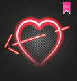 bright neon heart heart sign with cupid arrow on vector image vector image