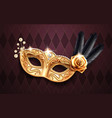 colombina mask with beads and feather rose flower vector image vector image