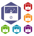 counter icons set hexagon vector image vector image