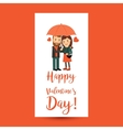 Couple with umbrella Valentines Day flyer vector image vector image